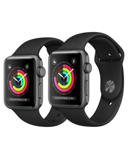 Apple Watch S3 Caja de aluminio Gris espacial de 38mm o 42mm,GPS o Cellular. Correa deportiva negra