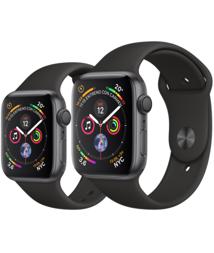 Apple Watch S4 Caja de aluminio en Gris de 40mm o 44mm, GPS o Cellular. Correa deportiva negra