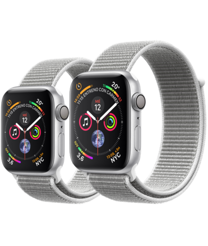 Apple Watch S4 Caja de aluminio en Plata de 40mm o 44mm, GPS o Cellular. Correa Loop deportiva nácar