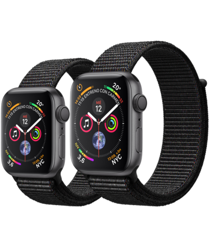Apple Watch S4 Caja de aluminio en Gris de 40mm o 44mm, GPS o Cellular. Correa Loop deportiva negra