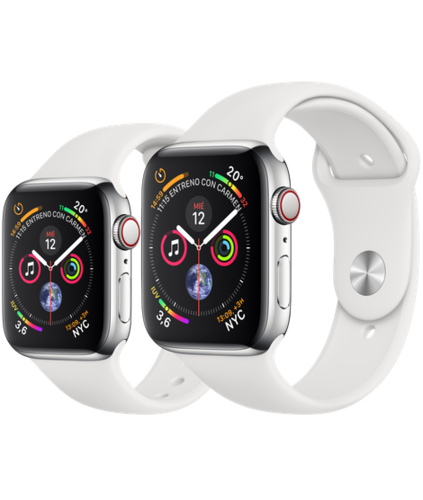 Apple Watch S4 Caja de Acero en Plata de 40mm o 44mm. GPS+Cellular .Correa deportiva blanca