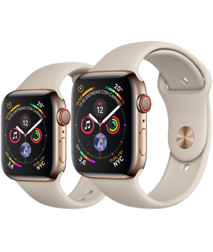 Apple Watch S4 Caja de Acero en Oro de 40mm o 44mm. GPS+Cellular .Correa deportiva piedra