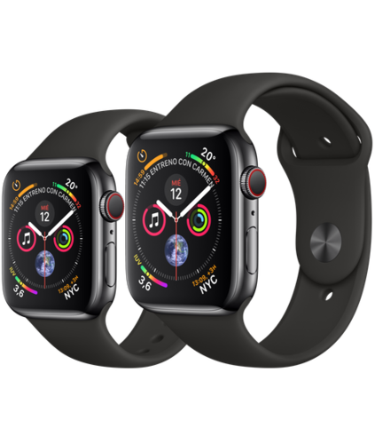 Apple Watch S4 Caja de Acero en Negro de 40mm o 44mm. GPS+Cellular .Correa deportiva negra