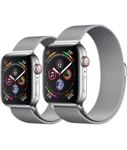 Apple Watch S4 Caja de Acero en Plata de 40mm o 44mm. GPS+Cellular .Correa Milanese Loop