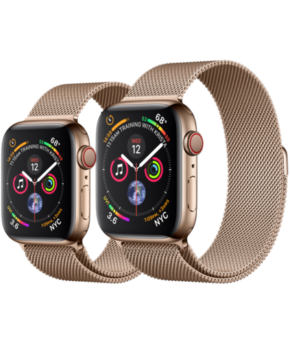 Apple Watch S4 Caja de Acero en Oro de 40mm o 44mm. GPS+Cellular .Correa Milanese Loop