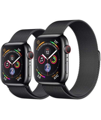 Apple Watch S4 Caja de Acero en Negro de 40mm o 44mm. GPS+Cellular .Correa Milanese Loop