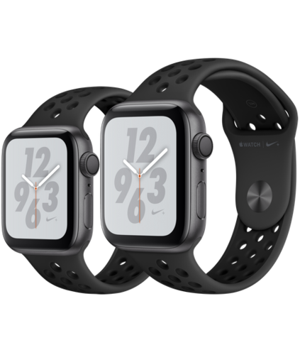 Apple Watch S4 Caja de aluminio Gris de 40mm o 44mm, GPS o Cellular. Correa Nike antracita/negra