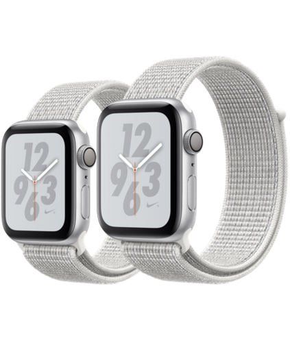 Apple Watch S4 Caja de aluminio Plata de 40mm o 44mm, GPS o Cellular. Correa Nike blanco polar