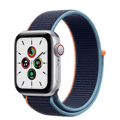 Apple Watch SE Caja de aluminio en Plata de 40mm o 44mm, Cellular. Correa Loop azul marino intenso